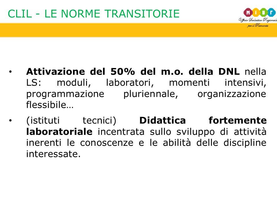 Ufficio Scolastico Regionale per il Piemonte CLIL - LE NORME TRANSITORIE Attivazione del 50% del m.o. della DNL nella LS: moduli, laboratori, momenti