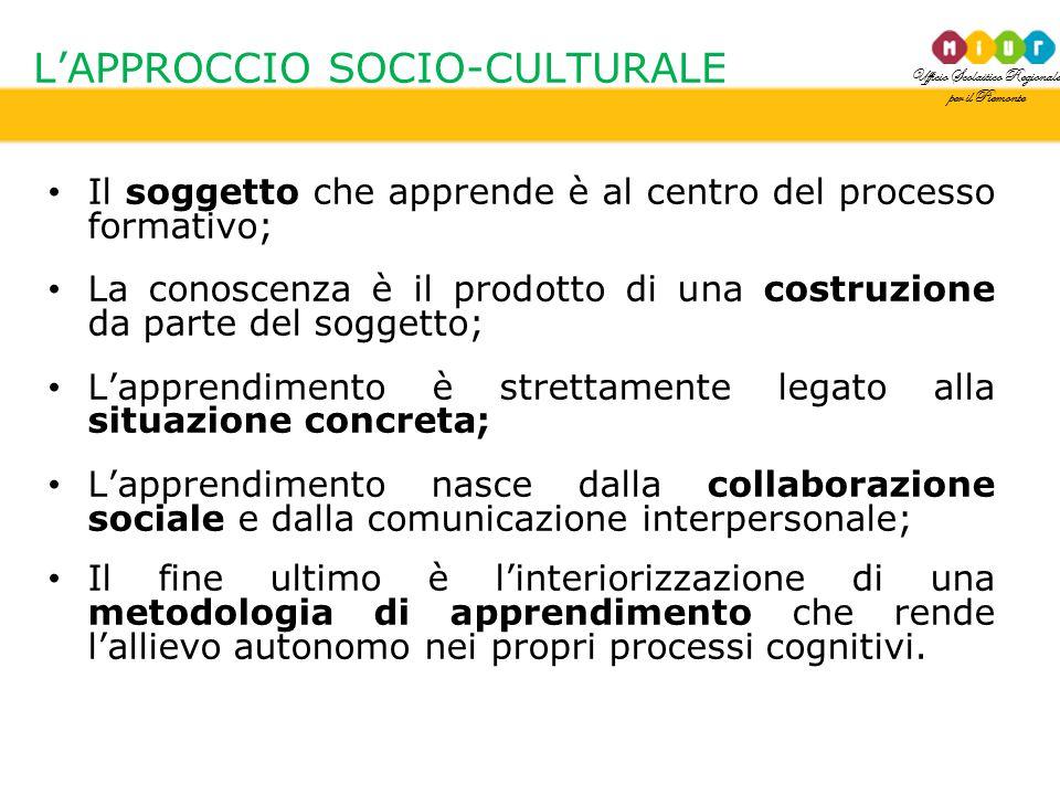 Ufficio Scolastico Regionale per il Piemonte L'APPROCCIO SOCIO-CULTURALE Il soggetto che apprende è al centro del processo formativo; La conoscenza è