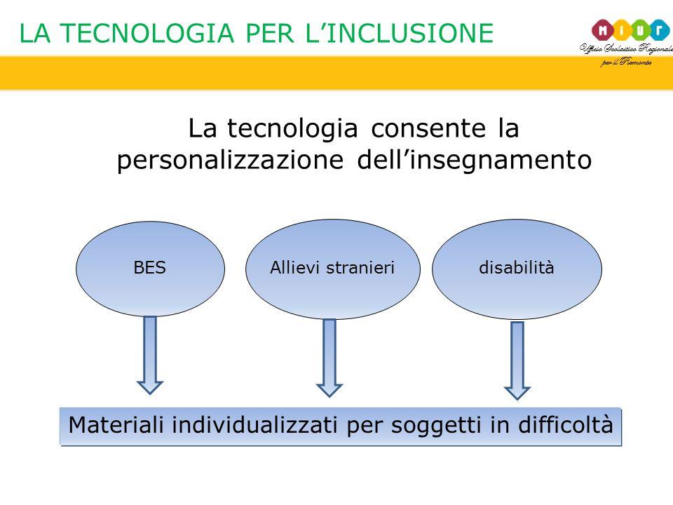 Ufficio Scolastico Regionale per il Piemonte LA TECNOLOGIA PER L'INCLUSIONE La tecnologia consente la personalizzazione dell'insegnamento BES disabili