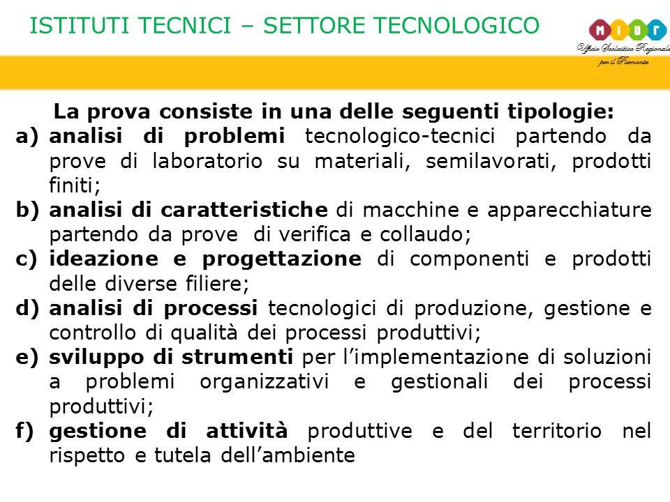 Ufficio Scolastico Regionale per il Piemonte ISTITUTI TECNICI – SETTORE TECNOLOGICO La prova consiste in una delle seguenti tipologie: a)analisi di pr