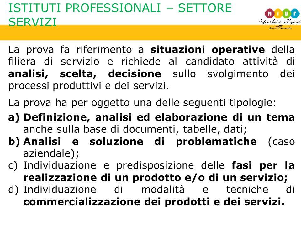 Ufficio Scolastico Regionale per il Piemonte ISTITUTI PROFESSIONALI – SETTORE SERVIZI La prova fa riferimento a situazioni operative della filiera di