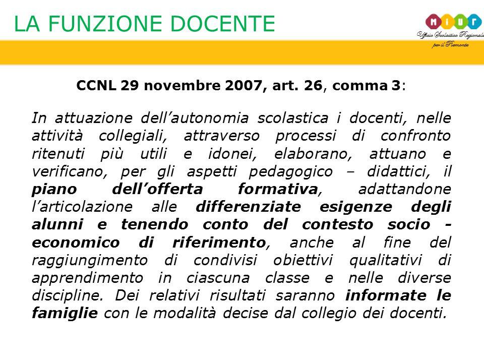Ufficio Scolastico Regionale per il Piemonte LA FUNZIONE DOCENTE CCNL 29 novembre 2007, art. 26, comma 3: In attuazione dell'autonomia scolastica i do