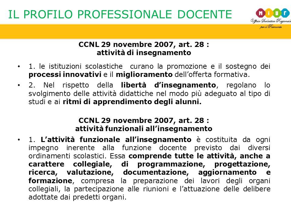 Ufficio Scolastico Regionale per il Piemonte IL PROFILO PROFESSIONALE DOCENTE CCNL 29 novembre 2007, art. 28 : attività di insegnamento 1. le istituzi