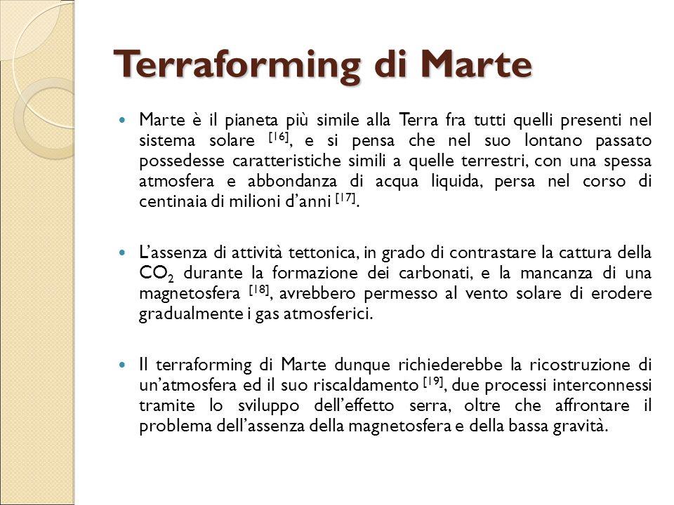 Terraforming di Marte Marte è il pianeta più simile alla Terra fra tutti quelli presenti nel sistema solare [16], e si pensa che nel suo lontano passa