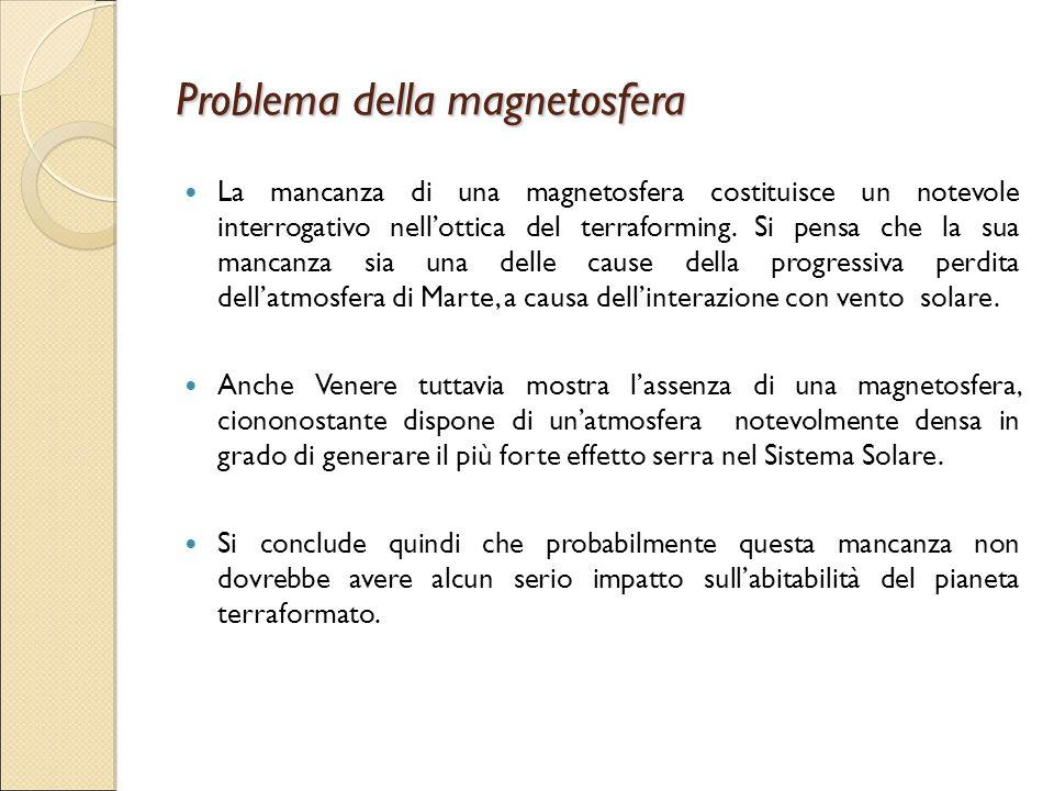 Problema della magnetosfera La mancanza di una magnetosfera costituisce un notevole interrogativo nell'ottica del terraforming. Si pensa che la sua ma