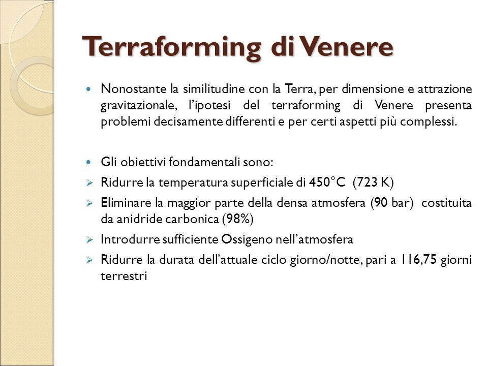 Terraforming di Venere Nonostante la similitudine con la Terra, per dimensione e attrazione gravitazionale, l'ipotesi del terraforming di Venere prese
