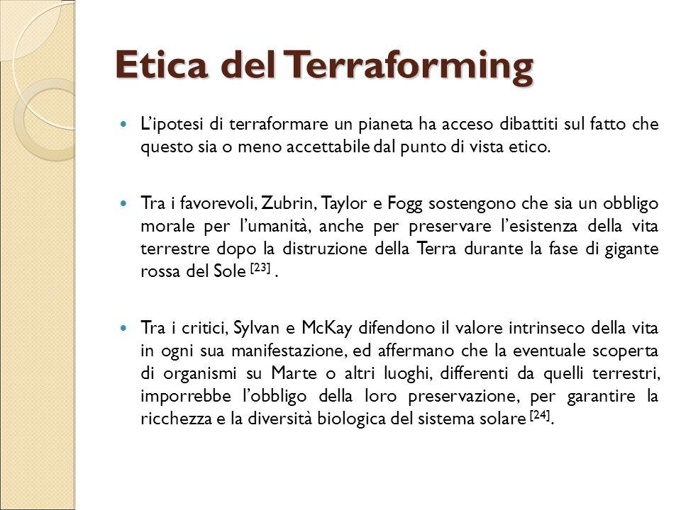 Etica del Terraforming L'ipotesi di terraformare un pianeta ha acceso dibattiti sul fatto che questo sia o meno accettabile dal punto di vista etico.