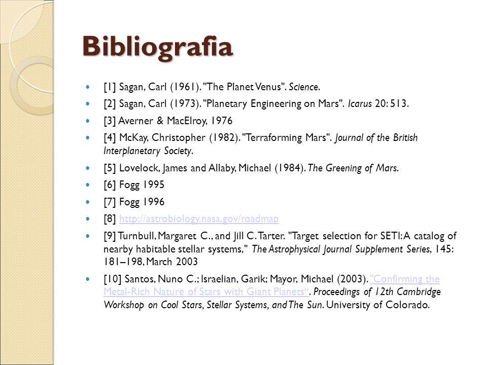 Bibliografia [1] Sagan, Carl (1961).