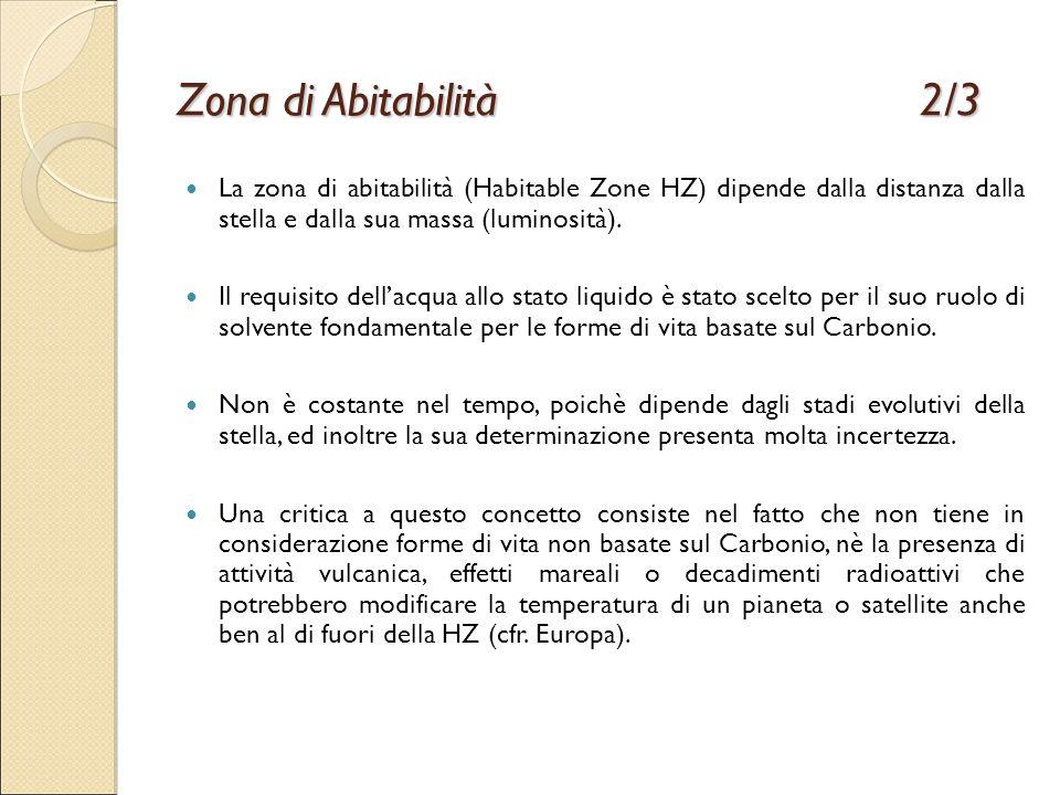 Zona di Abitabilità2/3 La zona di abitabilità (Habitable Zone HZ) dipende dalla distanza dalla stella e dalla sua massa (luminosità). Il requisito del