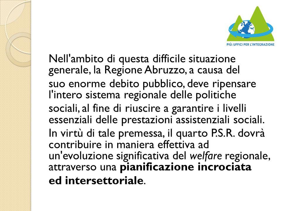 Nell ambito di questa difficile situazione generale, la Regione Abruzzo, a causa del suo enorme debito pubblico, deve ripensare l intero sistema regionale delle politiche sociali, al fine di riuscire a garantire i livelli essenziali delle prestazioni assistenziali sociali.