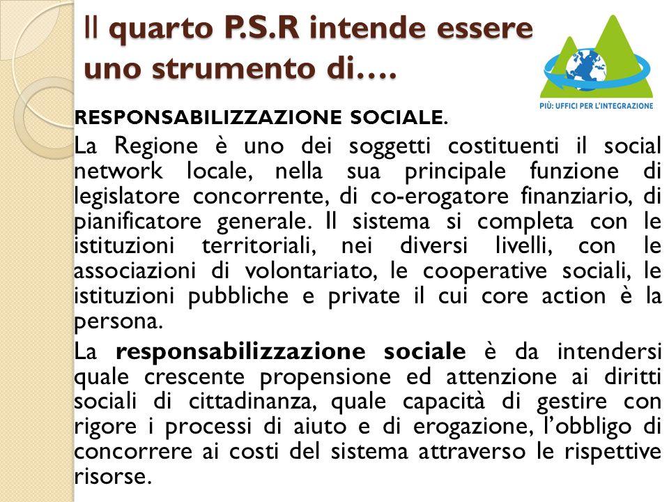 Il quarto P.S.R intende essere uno strumento di…. RESPONSABILIZZAZIONE SOCIALE.
