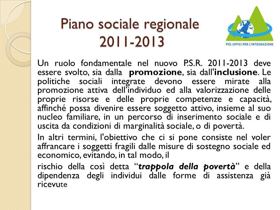 Piano sociale regionale 2011-2013 Un ruolo fondamentale nel nuovo P.S.R.