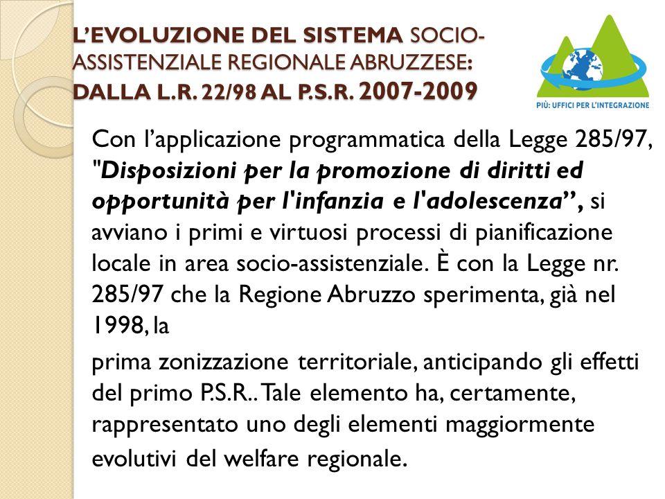 L'EVOLUZIONE DEL SISTEMA SOCIO- ASSISTENZIALE REGIONALE ABRUZZESE: DALLA L.R.