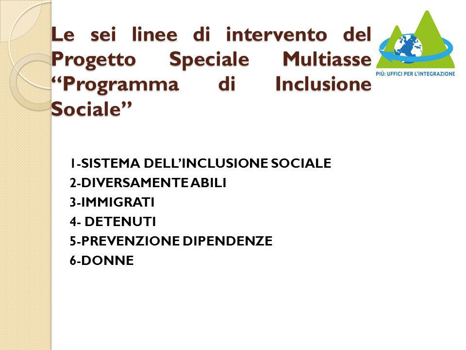 Le sei linee di intervento del Progetto Speciale Multiasse Programma di Inclusione Sociale 1-SISTEMA DELL'INCLUSIONE SOCIALE 2-DIVERSAMENTE ABILI 3-IMMIGRATI 4- DETENUTI 5-PREVENZIONE DIPENDENZE 6-DONNE