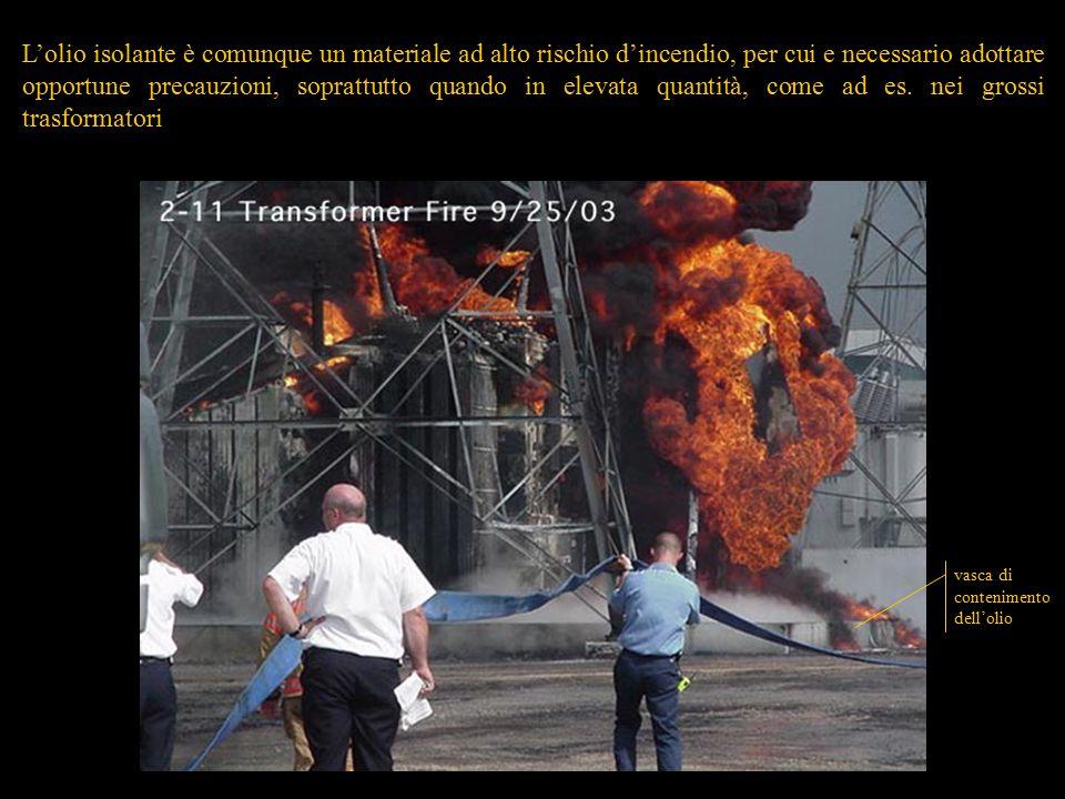 46 vasca di contenimento dell'olio L'olio isolante è comunque un materiale ad alto rischio d'incendio, per cui e necessario adottare opportune precauzioni, soprattutto quando in elevata quantità, come ad es.