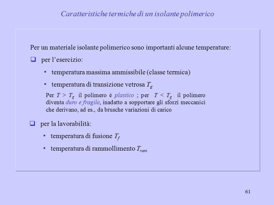 61 Per un materiale isolante polimerico sono importanti alcune temperature:  per l'esercizio: temperatura massima ammissibile (classe termica) temperatura di transizione vetrosa T g Per T > T g il polimero è plastico ; per T < T g il polimero diventa duro e fragile, inadatto a sopportare gli sforzi meccanici che derivano, ad es., da brusche variazioni di carico  per la lavorabilità: temperatura di fusione T f temperatura di rammollimento T ram Caratteristiche termiche di un isolante polimerico