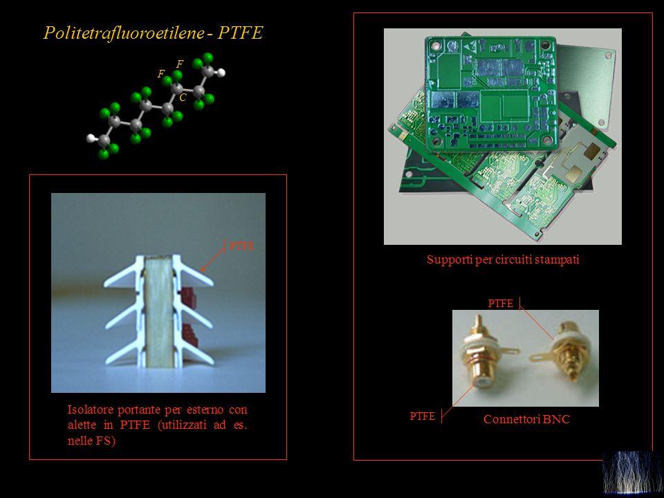 68 PTFE Connettori BNC Supporti per circuiti stampati Isolatore portante per esterno con alette in PTFE (utilizzati ad es. nelle FS) PTFE Politetraflu
