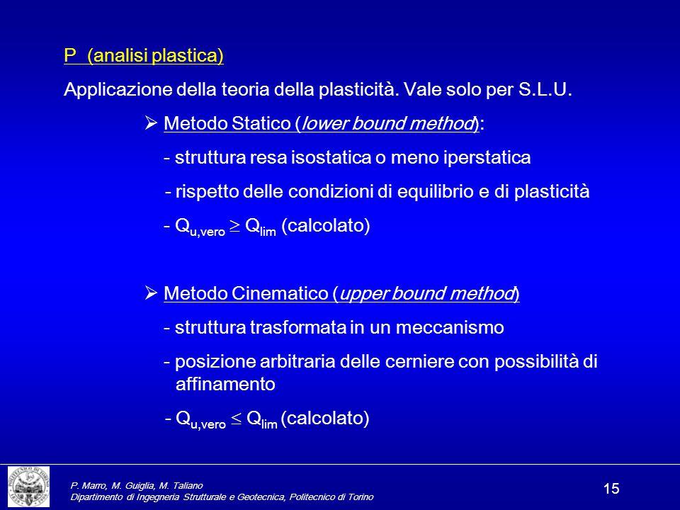P. Marro, M. Guiglia, M. Taliano Dipartimento di Ingegneria Strutturale e Geotecnica, Politecnico di Torino 15 P (analisi plastica) Applicazione della