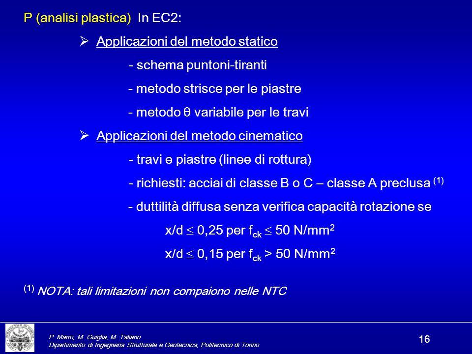 P. Marro, M. Guiglia, M. Taliano Dipartimento di Ingegneria Strutturale e Geotecnica, Politecnico di Torino 16 P (analisi plastica) In EC2:  Applicaz
