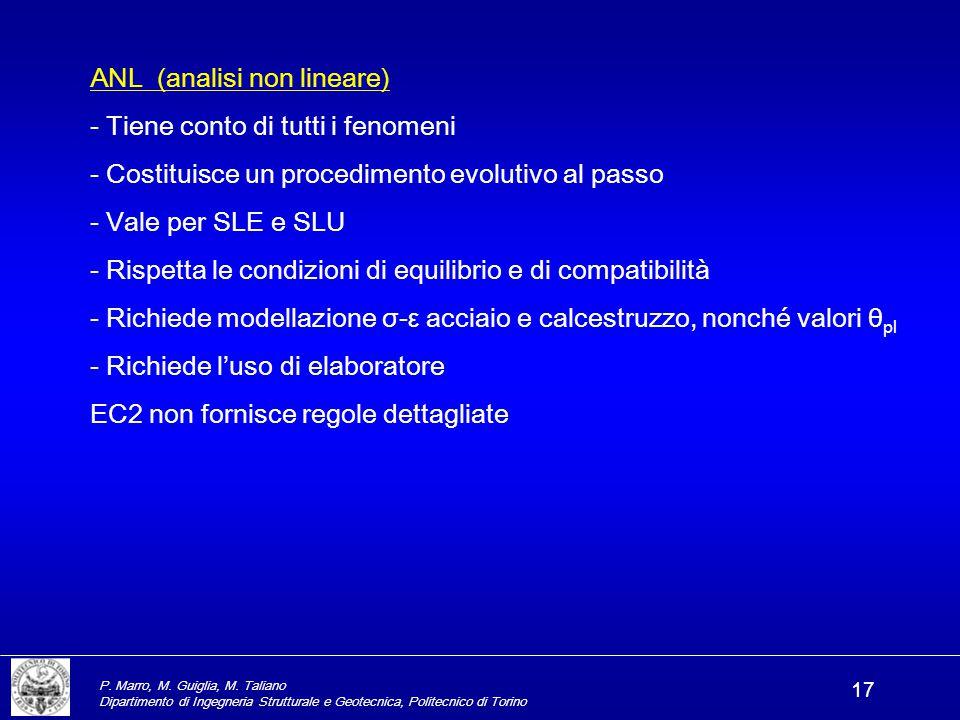 P. Marro, M. Guiglia, M. Taliano Dipartimento di Ingegneria Strutturale e Geotecnica, Politecnico di Torino 17 ANL (analisi non lineare) - Tiene conto