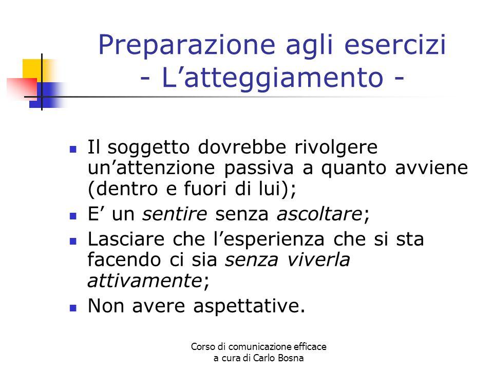 Corso di comunicazione efficace a cura di Carlo Bosna Preparazione agli esercizi - L'atteggiamento - Il soggetto dovrebbe rivolgere un'attenzione pass
