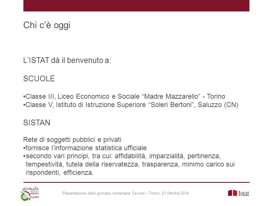 """Chi c'è oggi L'ISTAT dà il benvenuto a: SCUOLE Classe III, Liceo Economico e Sociale """"Madre Mazzarello"""" - Torino Classe V, Istituto di Istruzione Supe"""