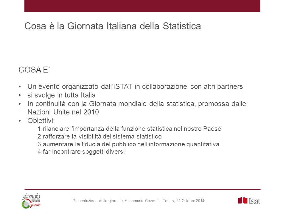 Cosa è la Giornata Italiana della Statistica COSA E' Un evento organizzato dall'ISTAT in collaborazione con altri partners si svolge in tutta Italia I