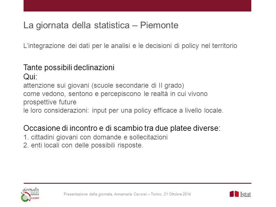 La giornata della statistica – Piemonte L'integrazione dei dati per le analisi e le decisioni di policy nel territorio Tante possibili declinazioni Qu