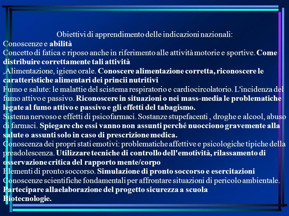 Obiettivi di apprendimento delle indicazioni nazionali: Conoscenze e abilità Concetto di fatica e riposo anche in riferimento alle attività motorie e sportive.
