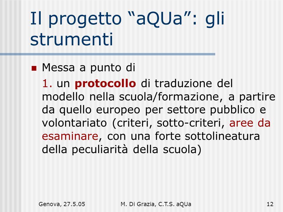 Genova, 27.5.05M. Di Grazia, C.T.S. aQUa12 Il progetto aQUa : gli strumenti Messa a punto di 1.