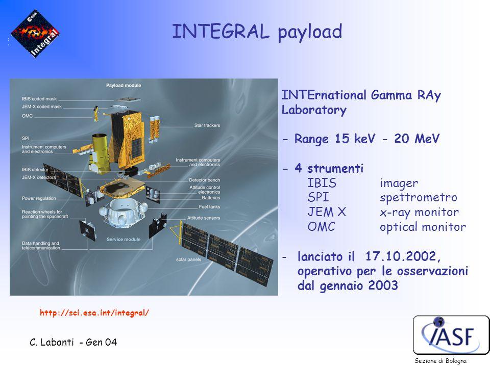 C. Labanti - Gen 04 INTEGRAL payload Sezione di Bologna INTErnational Gamma RAy Laboratory - Range 15 keV - 20 MeV - 4 strumenti IBIS imager SPI spett