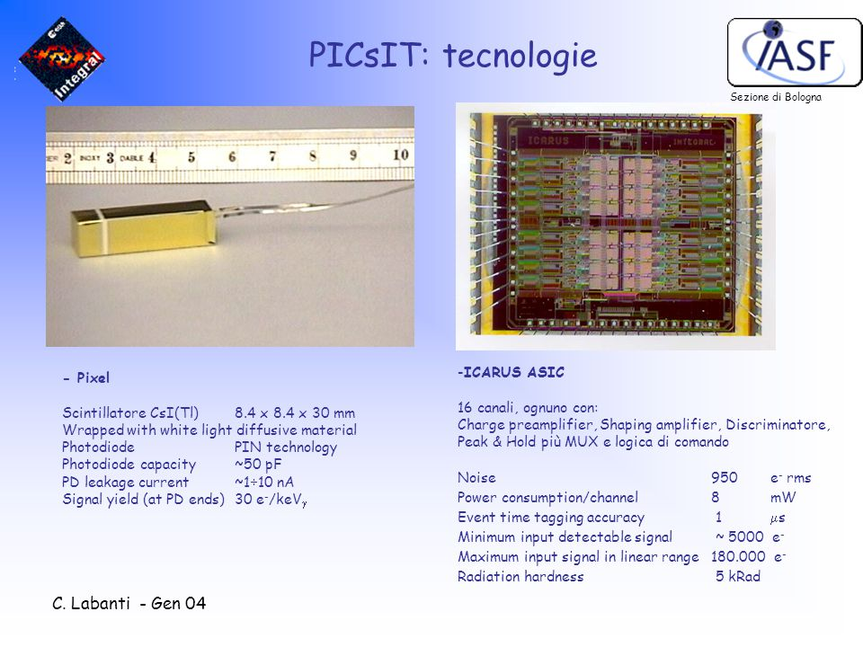 C. Labanti - Gen 04 PICsIT: tecnologie - Pixel Scintillatore CsI(Tl) 8.4 x 8.4 x 30 mm Wrapped with white light diffusive material PhotodiodePIN techn
