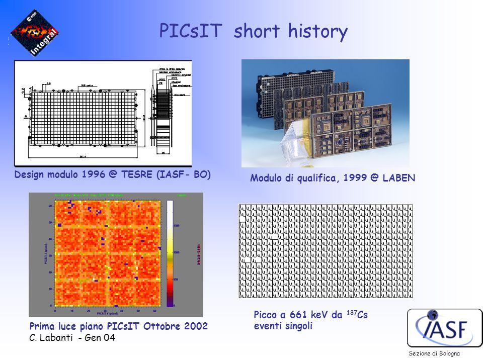 C. Labanti - Gen 04 PICsIT short history Design modulo 1996 @ TESRE (IASF- BO) Modulo di qualifica, 1999 @ LABEN Sezione di Bologna Picco a 661 keV da