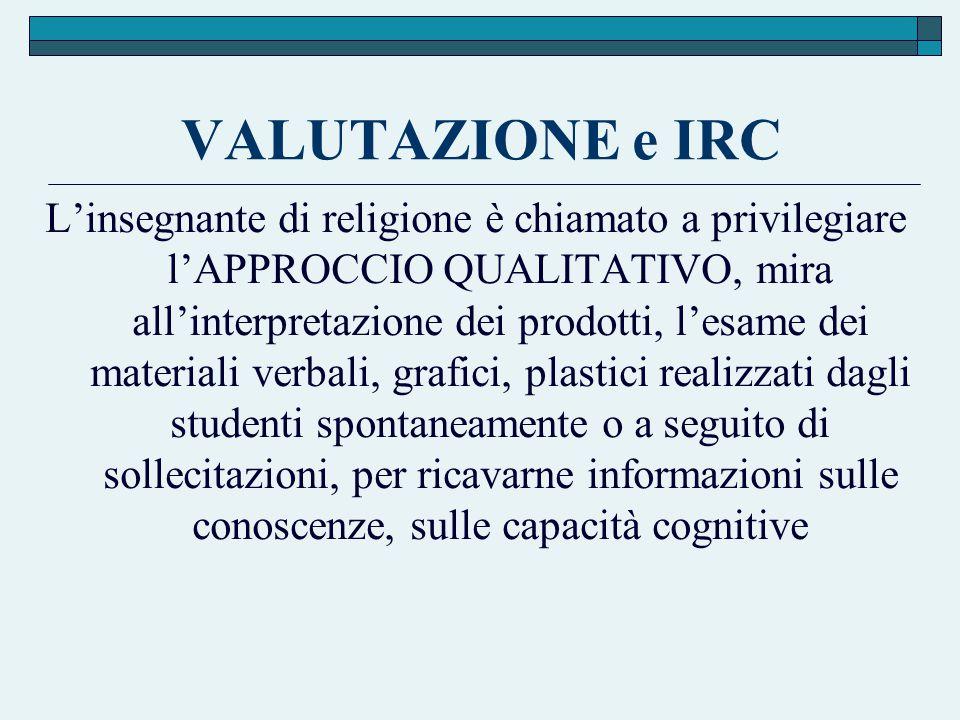 VALUTAZIONE e IRC L'insegnante di religione è chiamato a privilegiare l'APPROCCIO QUALITATIVO, mira all'interpretazione dei prodotti, l'esame dei mate