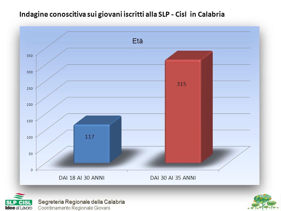 Segreteria Regionale della Calabria Segreteria Regionale della Calabria Coordinamento Regionale Giovani Indagine conoscitiva sui giovani iscritti alla SLP - Cisl in Calabria Età