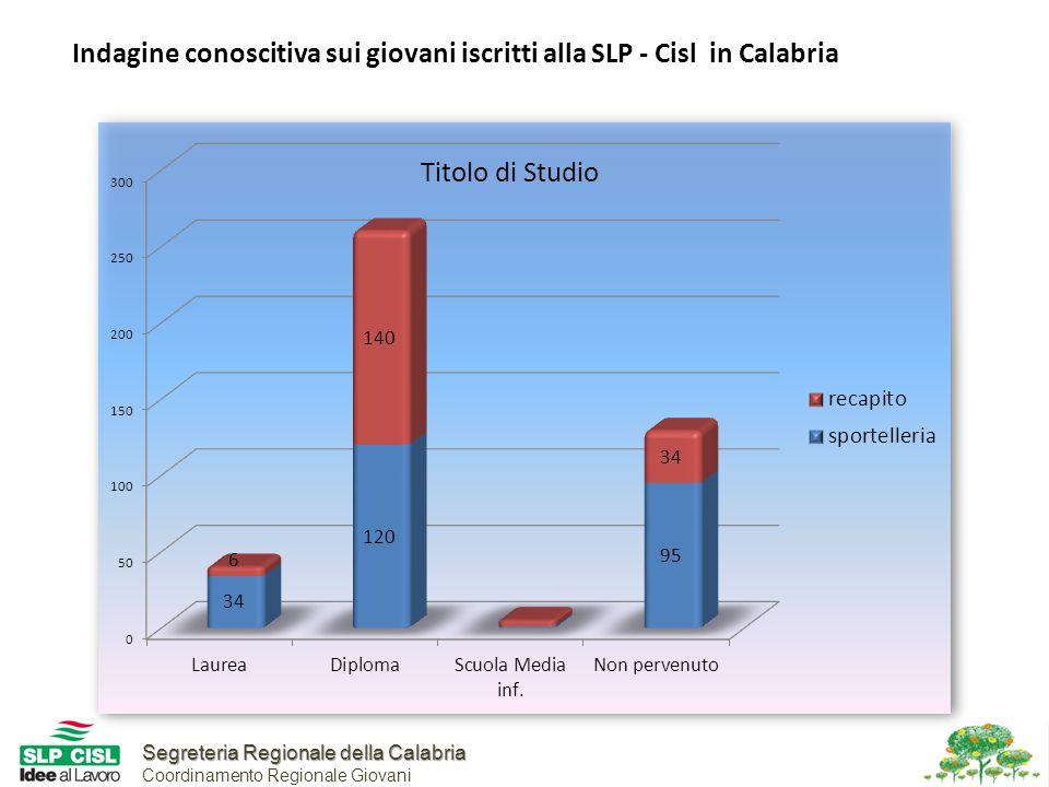 Segreteria Regionale della Calabria Segreteria Regionale della Calabria Coordinamento Regionale Giovani Indagine conoscitiva sui giovani iscritti alla