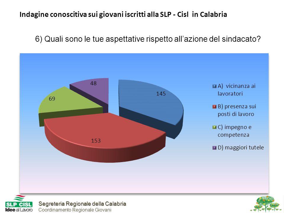 Segreteria Regionale della Calabria Segreteria Regionale della Calabria Coordinamento Regionale Giovani Indagine conoscitiva sui giovani iscritti alla SLP - Cisl in Calabria 6) Quali sono le tue aspettative rispetto all'azione del sindacato