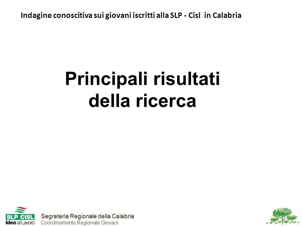 Segreteria Regionale della Calabria Segreteria Regionale della Calabria Coordinamento Regionale Giovani Indagine conoscitiva sui giovani iscritti alla SLP - Cisl in Calabria Principali risultati della ricerca