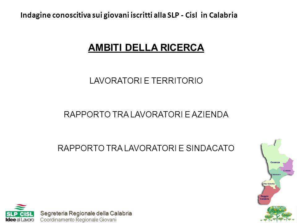 Segreteria Regionale della Calabria Segreteria Regionale della Calabria Coordinamento Regionale Giovani Indagine conoscitiva sui giovani iscritti alla SLP - Cisl in Calabria AMBITI DELLA RICERCA LAVORATORI E TERRITORIO RAPPORTO TRA LAVORATORI E AZIENDA RAPPORTO TRA LAVORATORI E SINDACATO