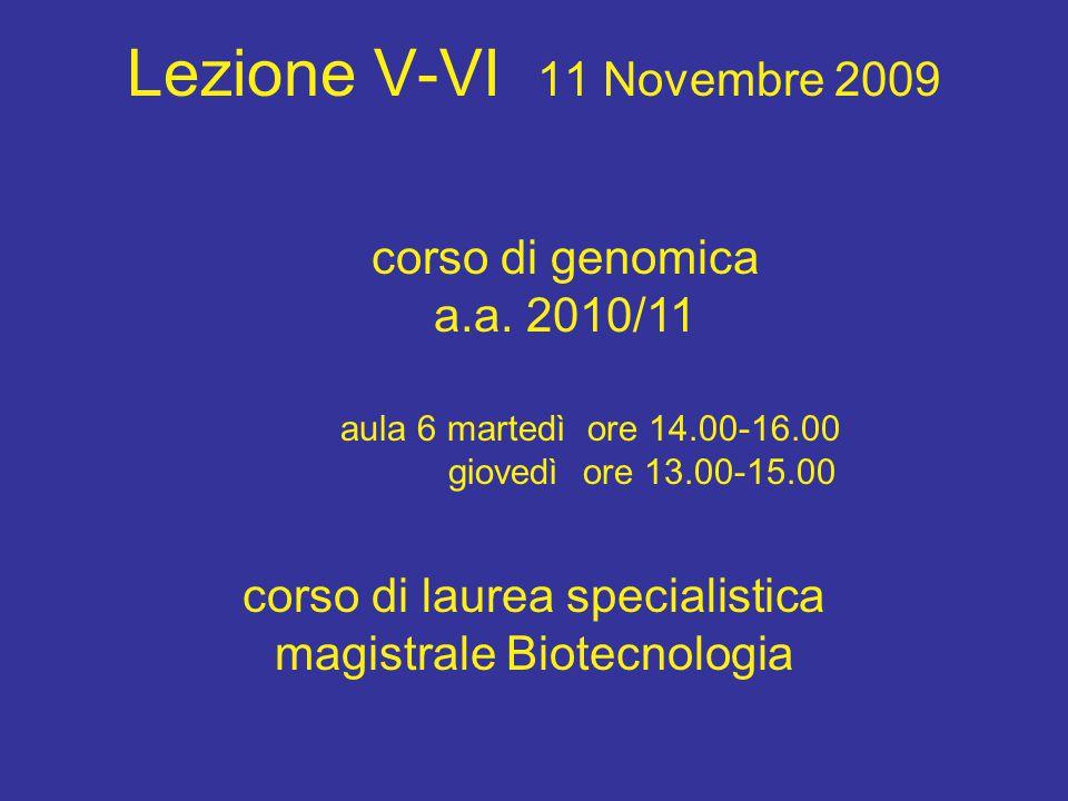 Lezione V-VI 11 Novembre 2009 corso di laurea specialistica magistrale Biotecnologia aula 6 martedì ore 14.00-16.00 giovedì ore 13.00-15.00 corso di genomica a.a.