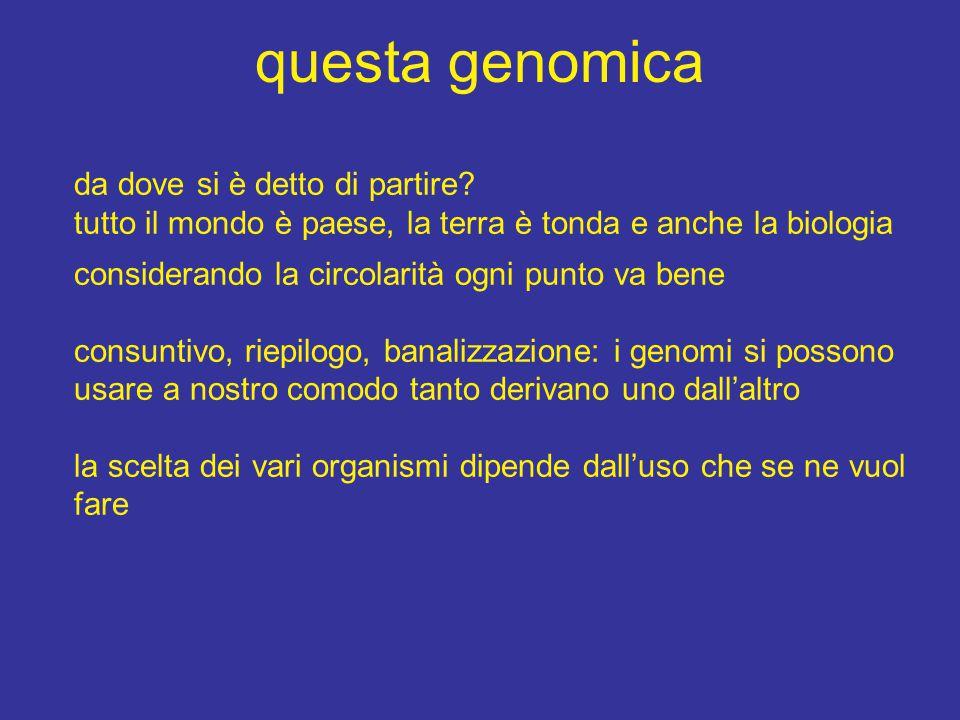 questa genomica da dove si è detto di partire.