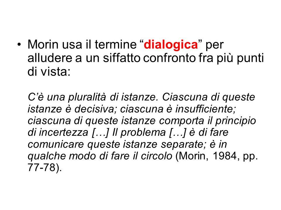 """Morin usa il termine """"dialogica"""" per alludere a un siffatto confronto fra più punti di vista: C'è una pluralità di istanze. Ciascuna di queste istanze"""