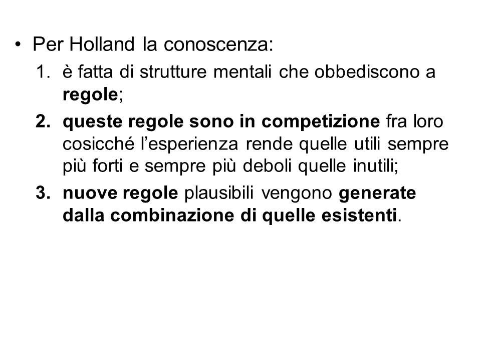 Per Holland la conoscenza: 1.è fatta di strutture mentali che obbediscono a regole; 2.queste regole sono in competizione fra loro cosicché l'esperienz