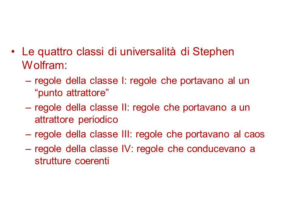 """Le quattro classi di universalità di Stephen Wolfram: –regole della classe I: regole che portavano al un """"punto attrattore"""" –regole della classe II: r"""