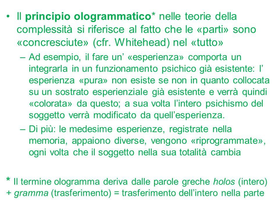 Il principio ologrammatico* nelle teorie della complessità si riferisce al fatto che le «parti» sono «concresciute» (cfr. Whitehead) nel «tutto» –Ad e