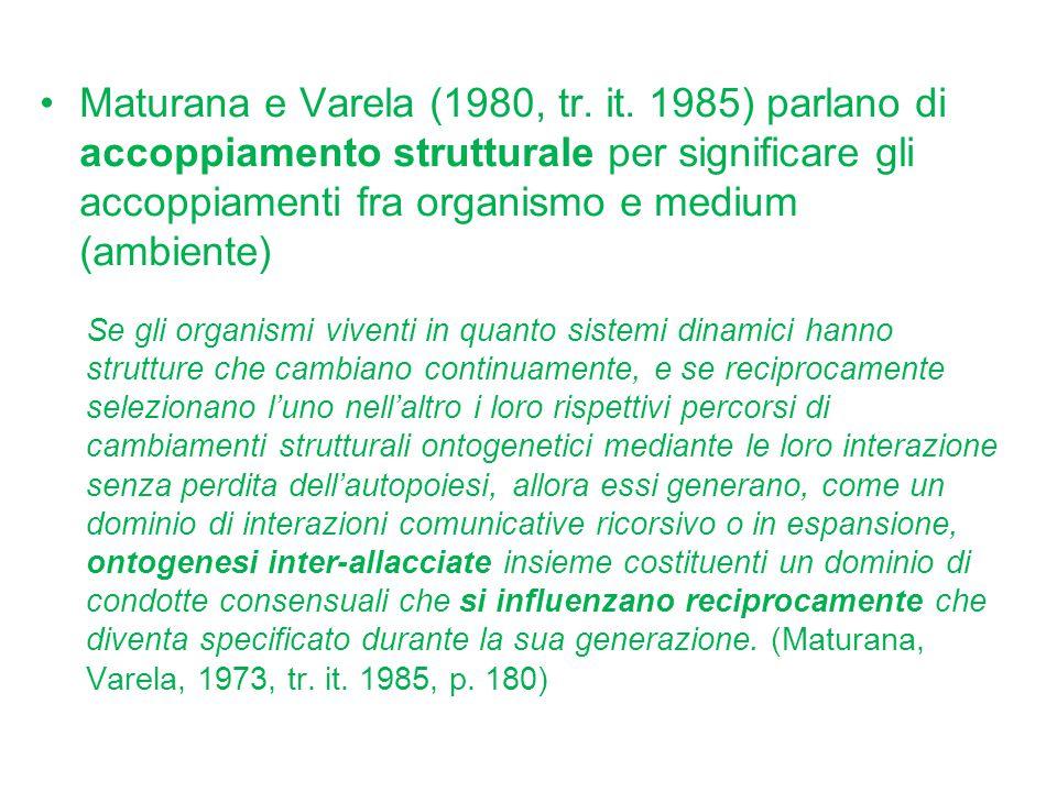 Maturana e Varela (1980, tr. it. 1985) parlano di accoppiamento strutturale per significare gli accoppiamenti fra organismo e medium (ambiente) Se gli