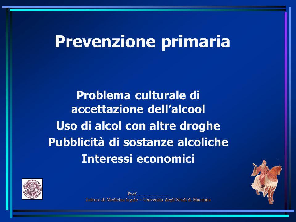 Prof. ………………. Istituto di Medicina legale – Università degli Studi di Macerata Prevenzione primaria Problema culturale di accettazione dell'alcool Uso