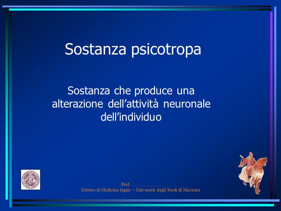 Prof. ………………. Istituto di Medicina legale – Università degli Studi di Macerata Sostanza psicotropa Sostanza che produce una alterazione dell'attività