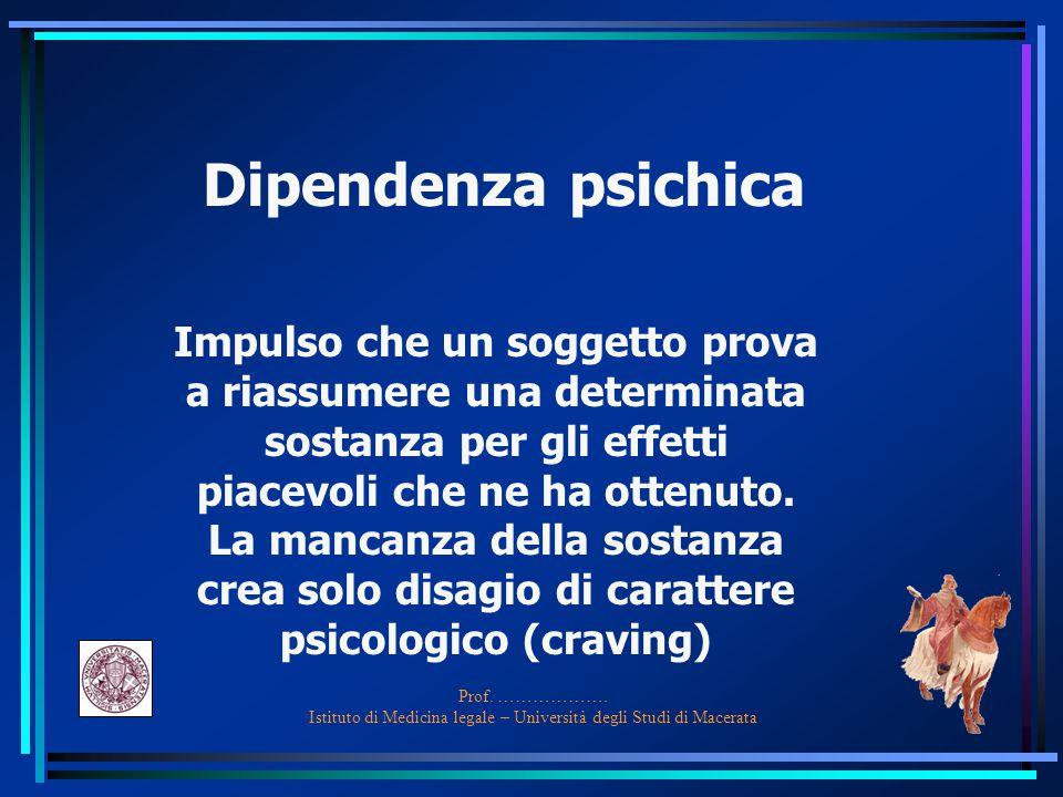 Prof. ………………. Istituto di Medicina legale – Università degli Studi di Macerata Dipendenza psichica Impulso che un soggetto prova a riassumere una dete