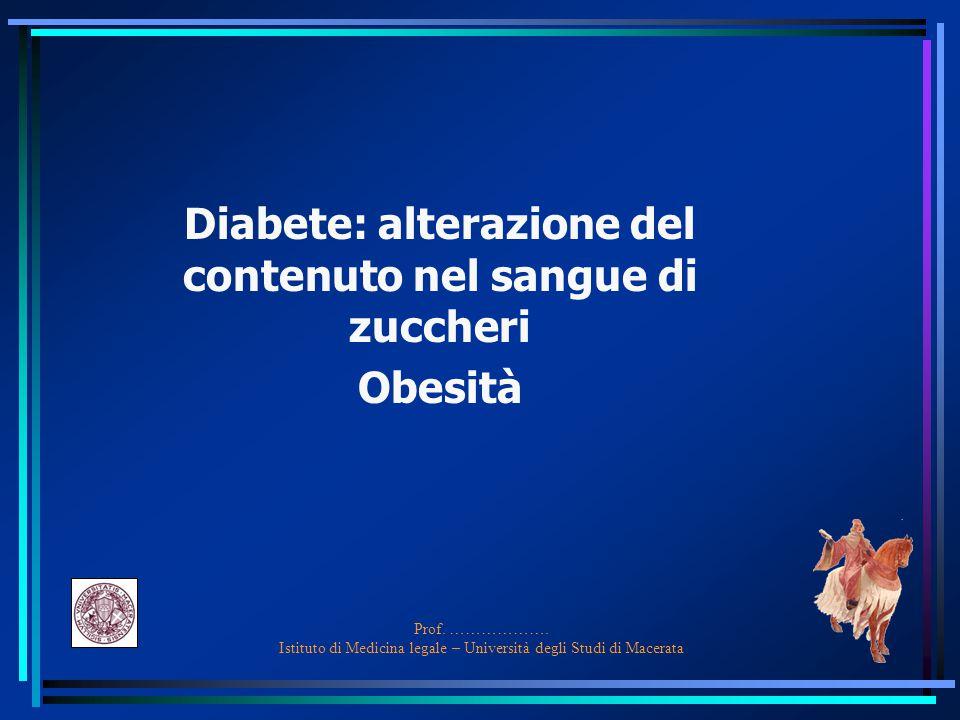 Prof. ………………. Istituto di Medicina legale – Università degli Studi di Macerata Diabete: alterazione del contenuto nel sangue di zuccheri Obesità